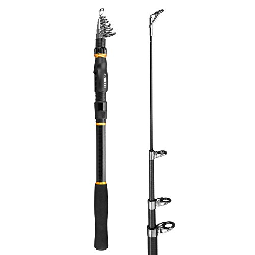 Rods Casting Kayak (ENKEEO Fishing Rod Carbon Fiber Portable Telescopic Fishing Pole for Freshwater Inshore Offshore Saltwater Travel Outdoor, 3.0 Meters / 9.8 Feet)