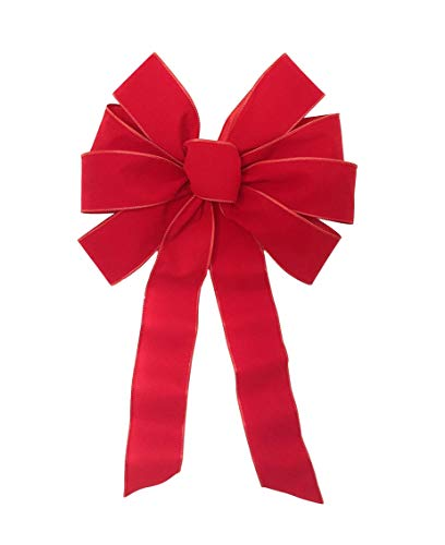 Down Home Designs Red Velvet Christmas Holiday Bows (3pack) Durable Indoor/Outdoor Wired 8 Loop (11inx20in)