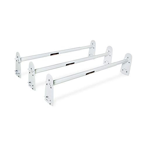 AA-Racks Model X316 HighTop 3 Bar Rain-Gutter Roof Rack Heavy-Duty Adjustable Steel High Roof Rack Matte White ()