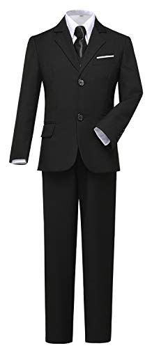 Visaccy Kids Suits for Boy Slim Fit Formal Wear Black Boys Suit Size - Suit Black Plain