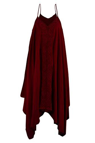 Cccollections Coton Longues Robe De Swing Maxi Et Colorant Naturel Rouge Col V
