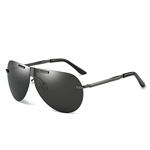 Guía Mens Pesca de gafas antirreflejo Grey UV400 polarizada de gris aluminio TIANLIANG04 plegable reborde sin gafas polarizadas piloto PwzxCq