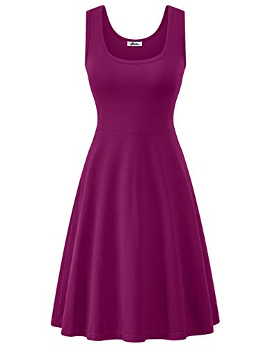 (Herou Dress for Women Casual Summer Spring Purple Red Large)