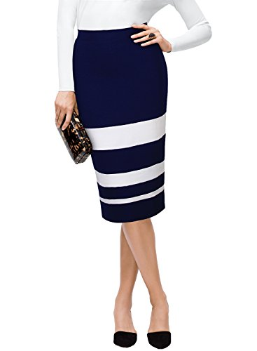 Striped Womens Skirt Suit (WOOSEA Women's Striped Colorblock Slim Business Pencil Skirt (X-Large, Navy Blue+White))