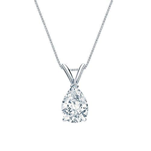 IGI Certified 14k White Gold V-End Prong Pear-Cut Diamond Solitaire Pendant (1 cttw, G-H, SI1-SI2)