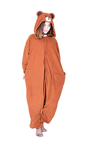 Xiqupjs Animal Onesies Bear Cosplay Costumes One-Piece Warm Cotton Jumpsuit Halloween Pajamas S ()