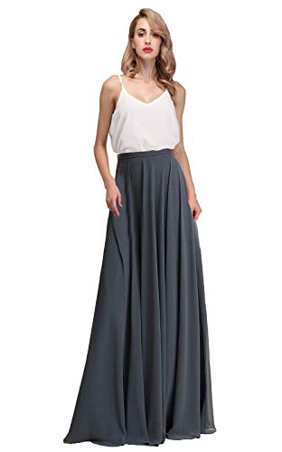 (Honey Qiao Maxi Bridesmaid Dresses Chiffon Elegant Long Skirts for Women Grey)