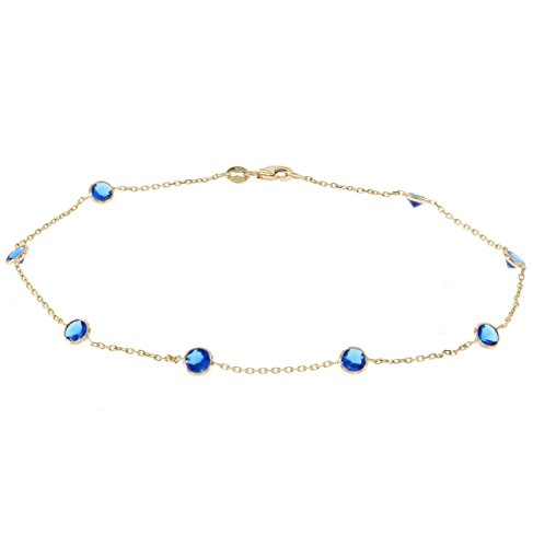 14k Yellow Gold Ankle Bracelet With Blue Cubic Zirconia (9 - 11 inches) by amazinite