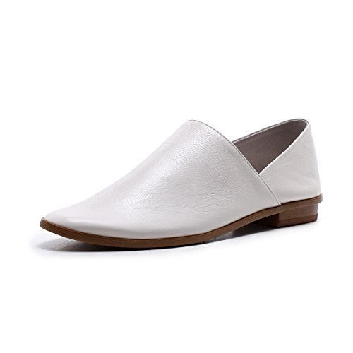 F Woman Flat Shoes, Leather Shoes, Leather Shoes, Soft Leather Comfort White
