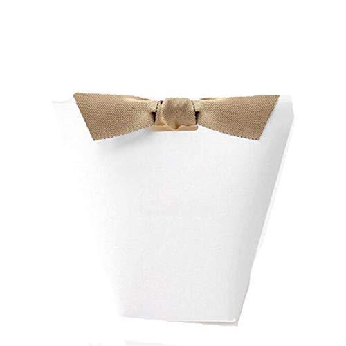 Merci Beaucoup White Black Color Paper Gift Boxes Cake Box Wedding Favor Candy Ribbon Blank 100PCS -