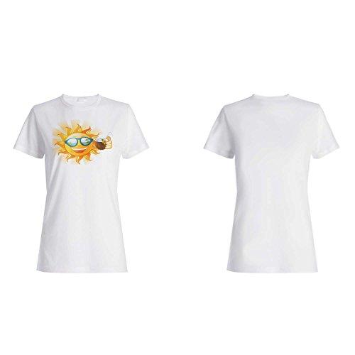 Sun Sunny Face Coconut Funny Novedad Nuevo camiseta de las mujeres k50f