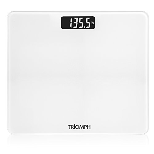 Triomph Digital Body Weight Bathroom Scale with Step-On Technology, Ultra Slim Design 6mm Tempered Glass, 400 Pounds, Weight Loss Monitor, White