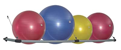 Power Systems Stability Ball Wall Storage Rack, Hold up to 4 Balls, 96 x 20 Inches, Black/Gray, (92579)