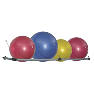 Power Systems Stability Ball Wall Storage Rack, Holds up to 4 Balls, 105 x 21 Inches, Black/Gray, (92579)