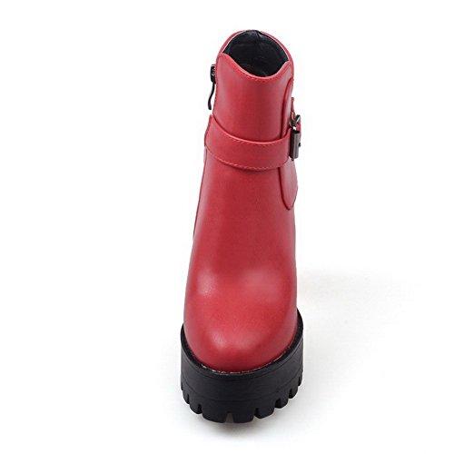 AllhqFashion Mujeres Caña Baja Sólido Cremallera Tacón ancho Botas con Hebilla Metal Rojo