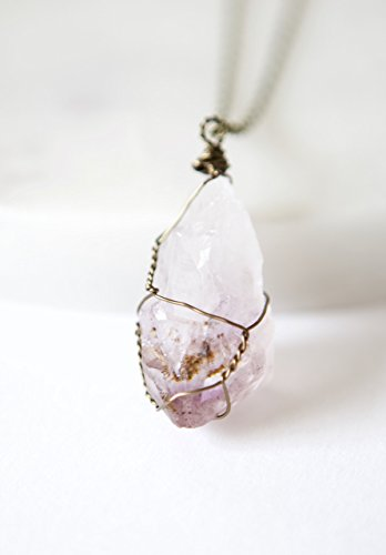 Unique Modern Amethyst Pendant (Raw Amethyst Wire Wrapped Antique Brass Necklace _ 24