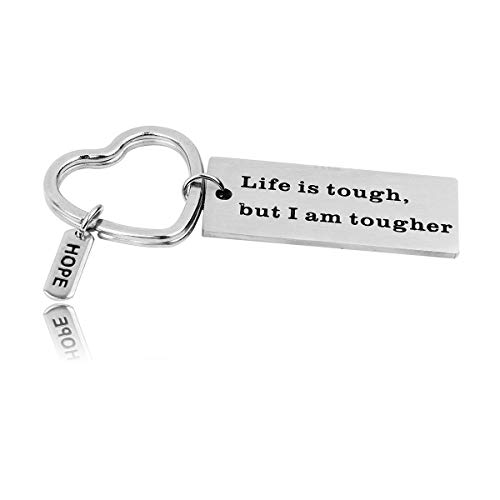 RUNXINTD Cancer Survivor Gift Cancer Awareness Jewelry Ribbon Bracelet What Doesn't Kill You Makes You Stronger Encouragement Bracelet Strength Gift (Life is Tough,but i am Tougher-Keychain) (Am Bracelet Am I I What)
