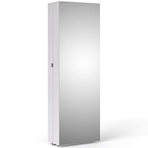 Tvilum 710094949 Bright Shoe Cabinet with Mirror Door, White (Shoes Cabinet Mirror)