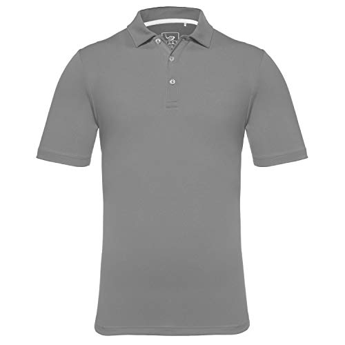 - EAGEGOF Regular Fit Men's Performance Polo Shirt Stretch Tech Golf Shirt Short Sleeve (Dark Gray, L)