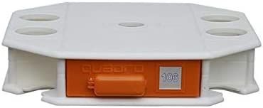 TEMPO STYLE Quadrò - Mesa multifunción para sombrillas, Base Blanca/Naranja