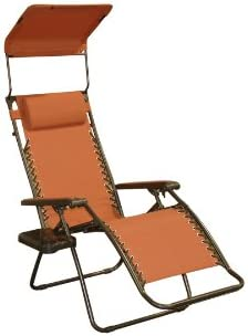 Bliss Hammocks Zero Gravity Chair with Canopy and Side Tray, Terracotta, 26 Wide