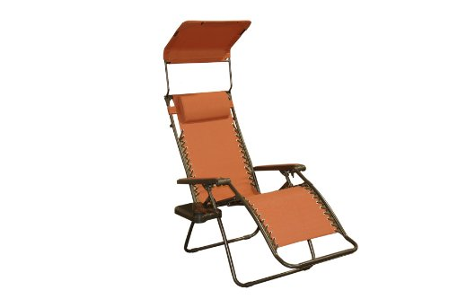 Bliss Hammocks Zero Gravity Chair with Canopy and Side Tray, Terracotta, 26' Wide