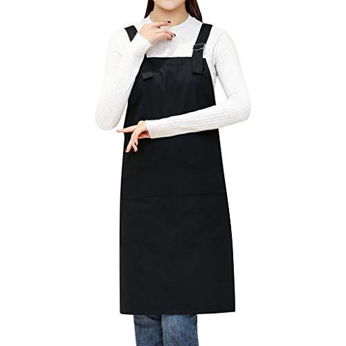 Women Casual Solid Cooking Chef Kitchen Restaurant Bib Apron Dress Pocket Apron