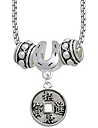 Chinese Coin Horseshoe 3 Bead Necklace