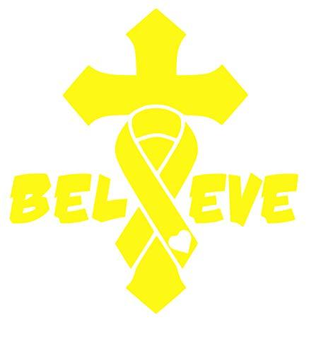 UR Impressions BYel Cancer Awareness Ribbon Cross Crucifix - Believe Decal Vinyl Sticker Graphics for Cars Trucks SUV Vans Walls Windows Laptop Tablet|Bright Yellow|6.3 X 5.5 - Cross Crucifix Yellow