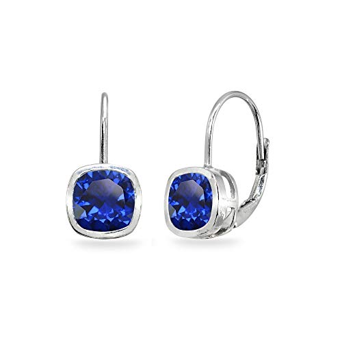 - Sterling Silver Created Blue Sapphire 6x6mm Cushion-Cut Bezel-Set Dainty Leverback Earrings for Women Teen Girls
