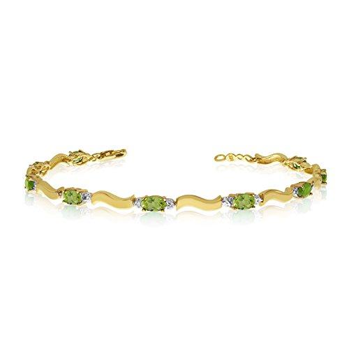 2.52 Carat (ctw) 14k Yellow Gold Oval Green Peridot and Diamond Tennis Bracelet - 7