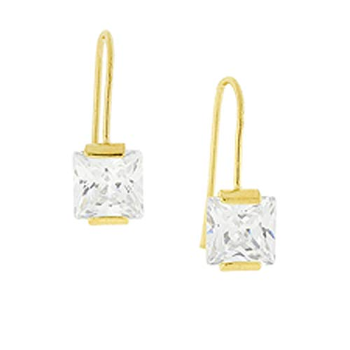 14k Gold Dipped Square Cut Cubic Zirconia Wire Drop Earrings