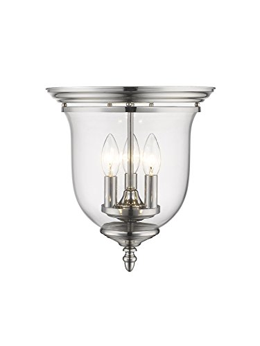 Legacy Ceiling Flush - Livex Lighting 5021-35 Legacy 3-Light Ceiling Mount, Polished Nickel