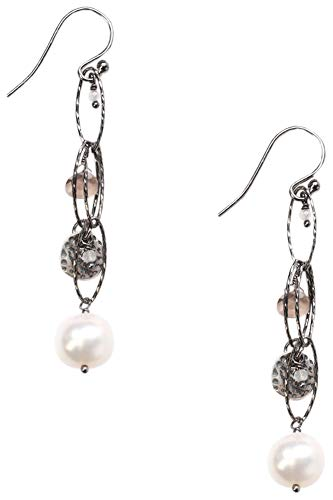 Chan Luu White Mix of Freshwater Cultured Pearl and Chain Sterling Silver Drop Earrings - Pearl Euro Wire Earrings