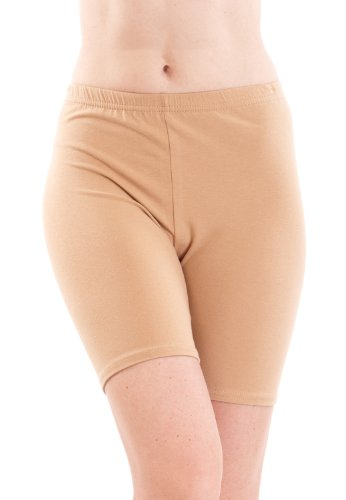 Tan Woman Plus Size Cotton Spandex Mid Thigh Shorts