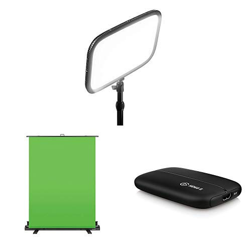 Elgato Key Light - Professional Studio LED Panel and Elgato Green Screen  Collapsible chroma key panel for background removal with breakdown and Elgato Game Capture HD60 S - Stream.