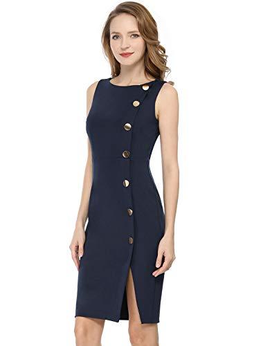 Allegra K Women's Button Decor Sleeveless Slit Stretchy Office Bodycon Sheath Dress XL Dark Blue