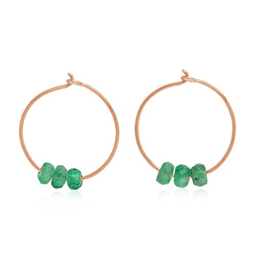 14K Gold Natural Gemstone Beads Huggie Hoop Earrings For Women 12 MM