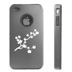 Apple iPhone 4 4S 4G Silver D634 Aluminum & Silicone Case Cover Cherry Blossom Flowers