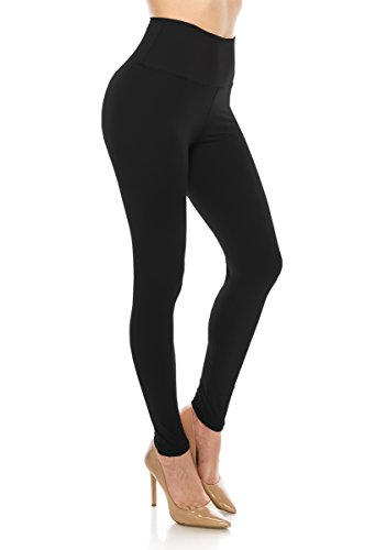 (ALWAYS Leggings Women High Waist - Premium Buttery Soft Yoga Workout Stretch Solid Pants Black One Size)