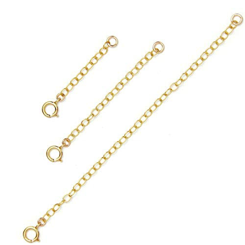 BENIQUE Necklace Extenders for Women - 925 Sterling Silver, 14K Gold Filled, Fully Adjustable Chain, Delicate Durable Strong Lightweight Removable, Made in USA, Set of 3 (Gold Filled/Set 1