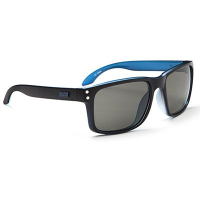 Optic Nerve PK Thrilla Sunglasses, Matte Black/Blue, Polarized Smoke Lens