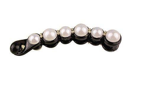 JinZhiCheng Noir Pour femme /Él/égante /épingle /à cheveux incurv/ée avec magnifiques fausses perles