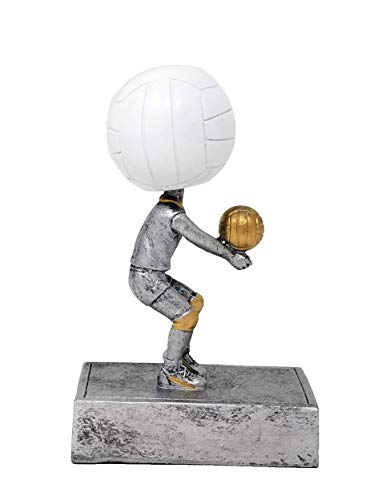 Decade Awards Volleyball Bobblehead Trophy | Volleyball Award | 5.5 Inch Tall - Free Engraved Plate on Request Silver, White (Runner Bobble Head)