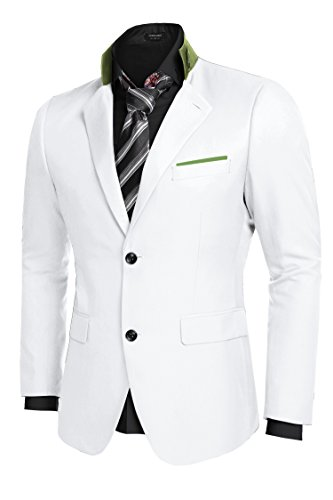 Coofandy Men's Casual Dress Suit Slim Fit Stylish Blazer Coats Jackets, Size Small, White