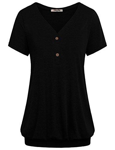 Blouson Tops for Women,Hibelle Juniors Henley Shirts V Neck Short Sleeve Summer Casual Wear Loose Fitting Blouse for Work Large Black