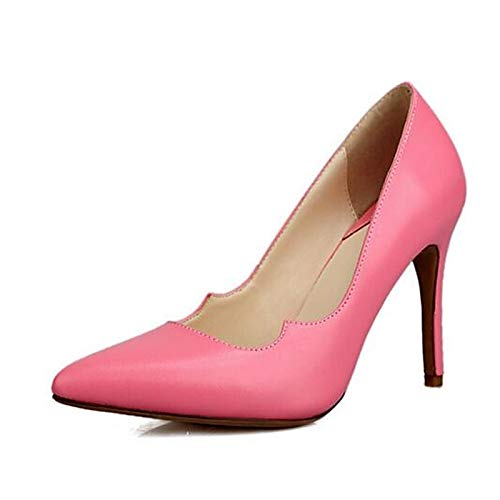 Spring Stiletto Blue Shoes ZHZNVX Yellow Pink Heel Pump Nappa Leather Heels Pink Women's Basic xaP8PqI