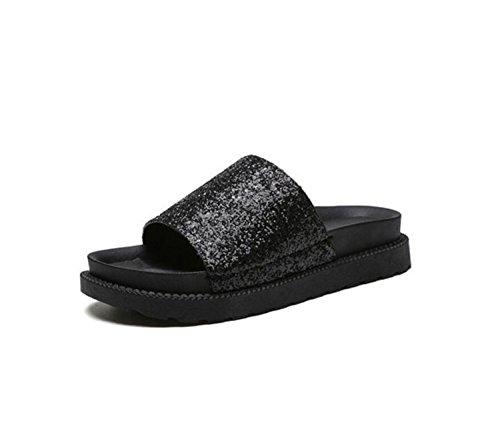 DANDANJIE Zapatillas de Mujer Primavera Moda con Lentejuelas Estudiantes Suela Gruesa Flip-Flops Zapatillas de Playa de Arena Plana Zapatos caseros Negro