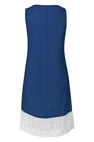 Blazar Maniche Casual Navy con Senza Lunga Shirt Donna Line Camicia Top Pizzo T Blu Estivo Ginocchio Maglietta Estate Maglia A Vestito al rrvzdnRq