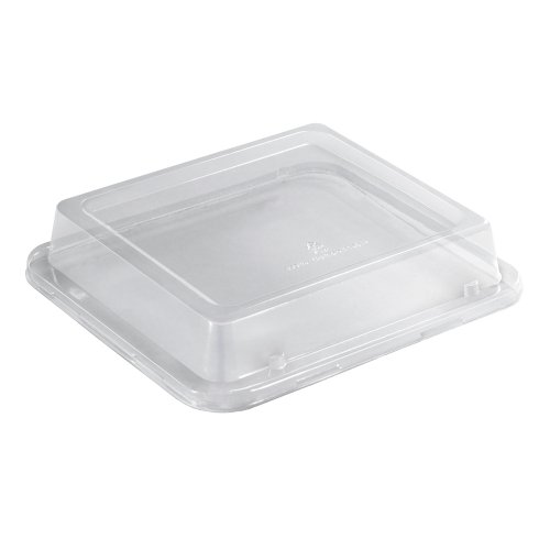 Hoffmaster 760132 Earth Wise Tree Free Stackable PLA Lid for 38-Ounce Container, 9'' Length x 8-1/4'' Width x 2'' Height, Clear (Case of 250) by Hoffmaster